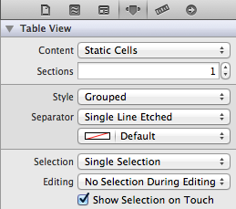 xcode attributes inspector panel for tableview
