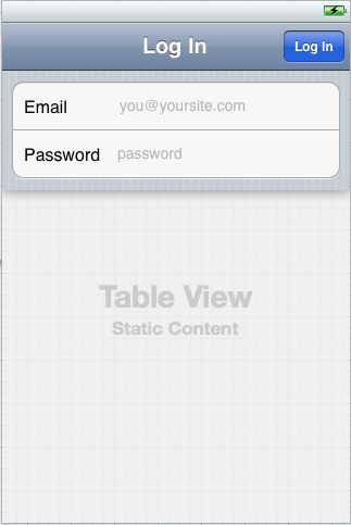 xcode log in form controller in table view controller